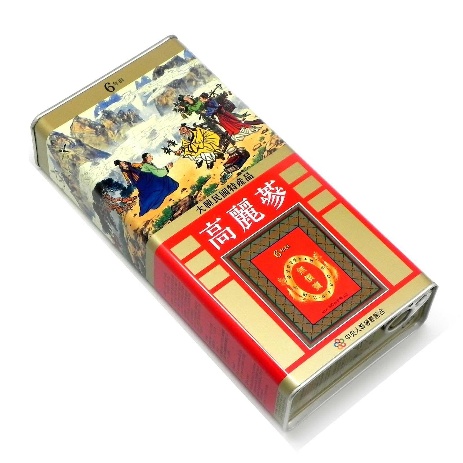 Hồng sâm Hàn Quốc 6 năm tuổi nguyên củ hộp sắt 10 củ 300g