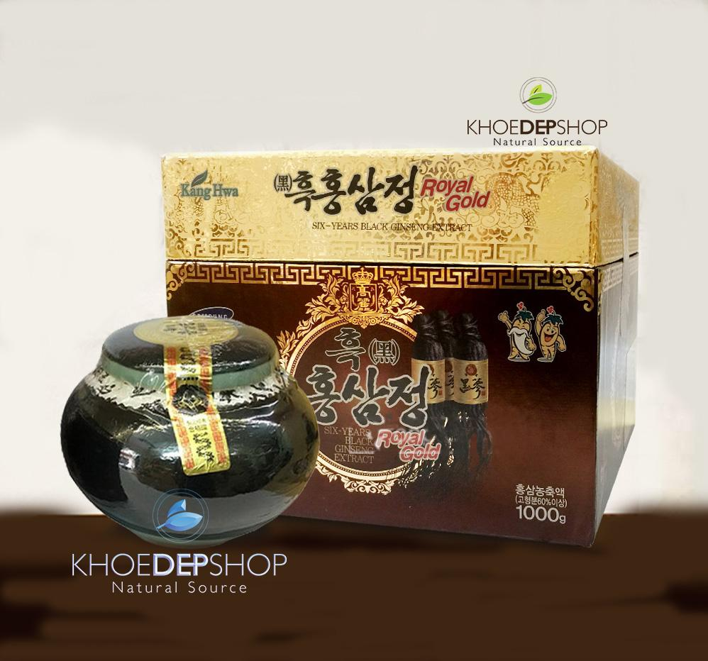 Cao Hắc Sâm Kanghwa hũ sứ 1 kg, 6 tuổi Black Gingseng Extract Royal Gold