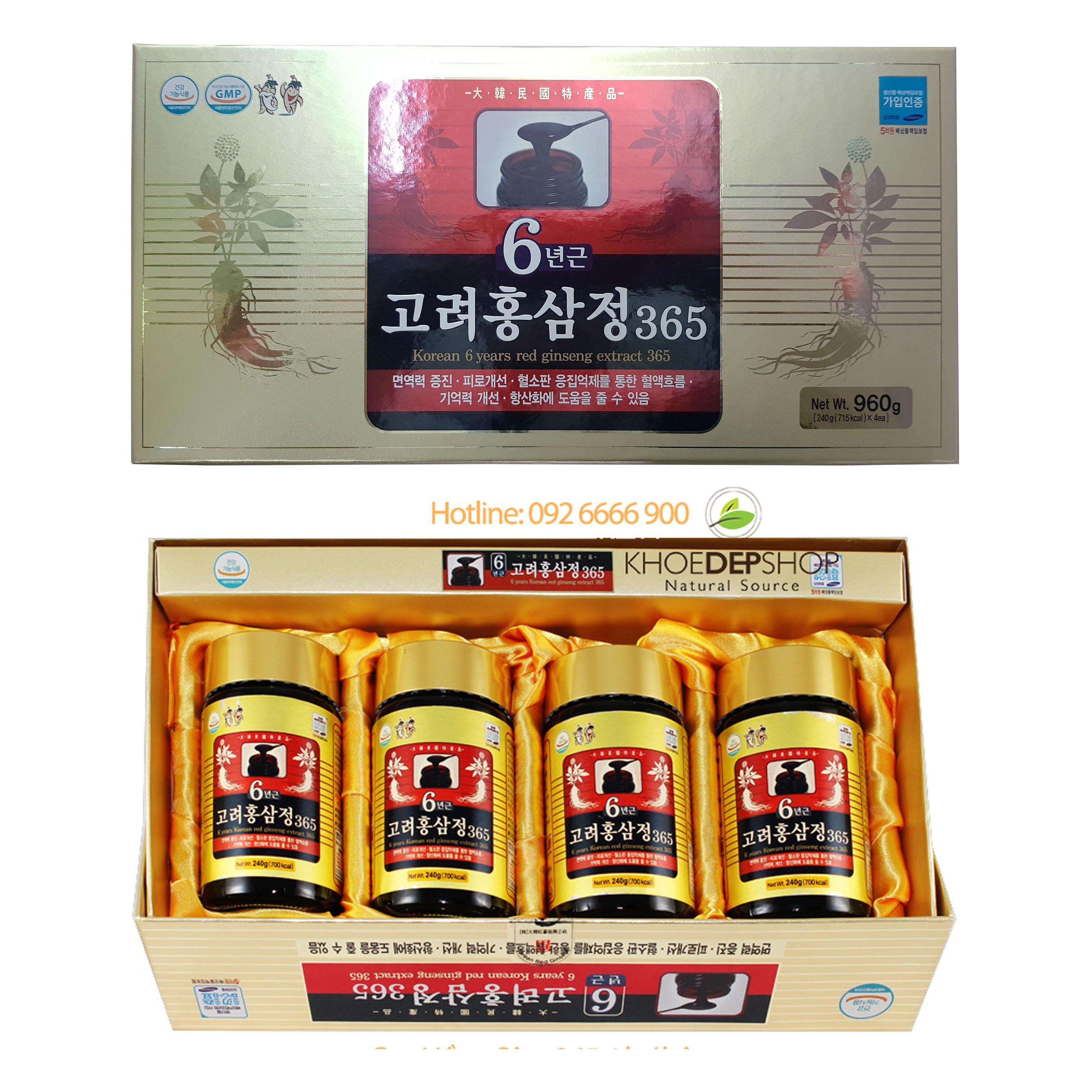 Cao Hồng Sâm DaeHan 365 Hàn Quốc - 4 lọ x 240g