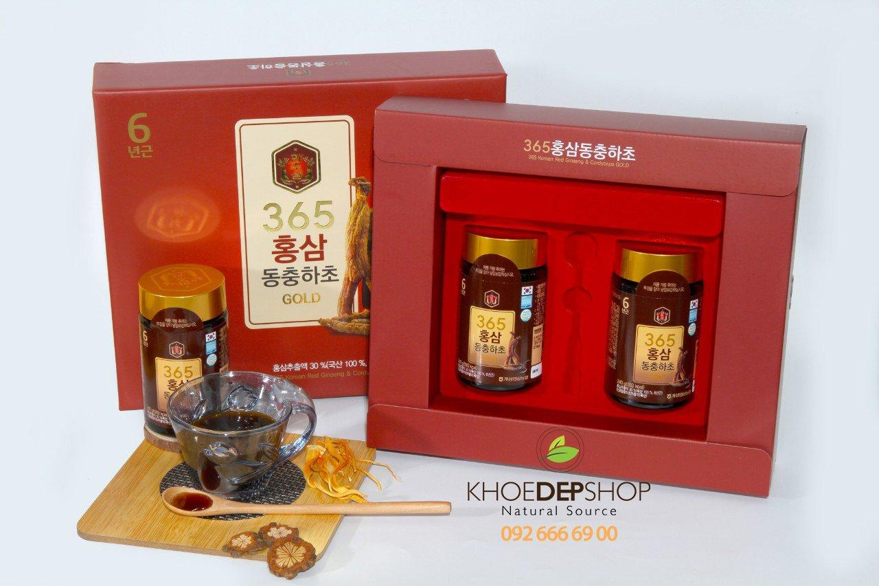 Cao Hồng Sâm Đông Trùng 365 Gold Hàn Quốc 2 lọ