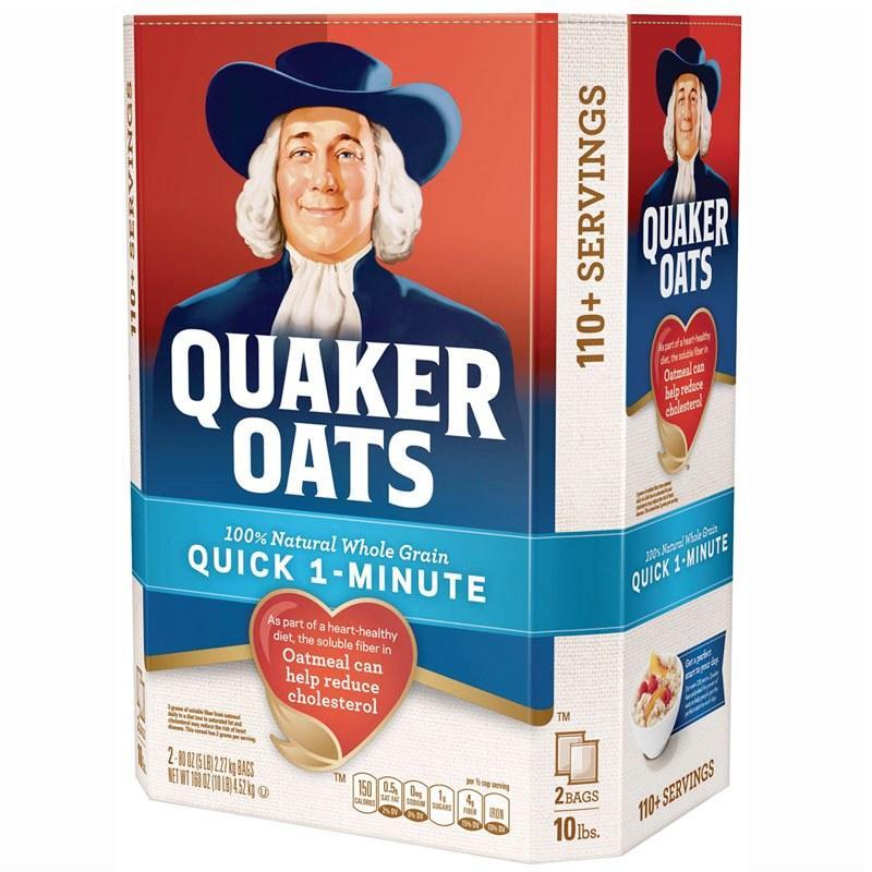 Hạt Yến Mạch Quaker Oats - Quick 1 - Minute thùng 4.53kg