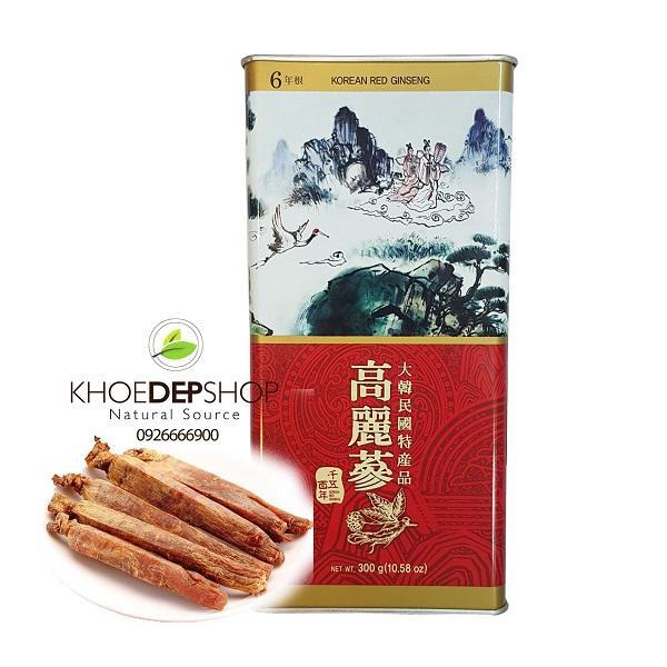 Sâm Khô Nguyên Củ Hàn Quốc - Hộp Sắt 300g