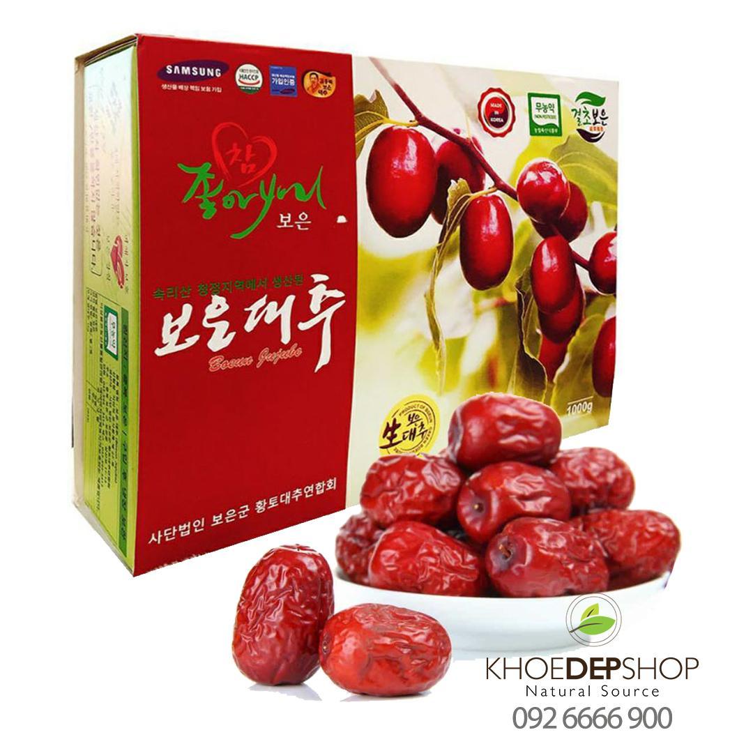 Táo đỏ sấy khô Jujube BOEUN GUN Hàn Quốc  loại thượng hạng